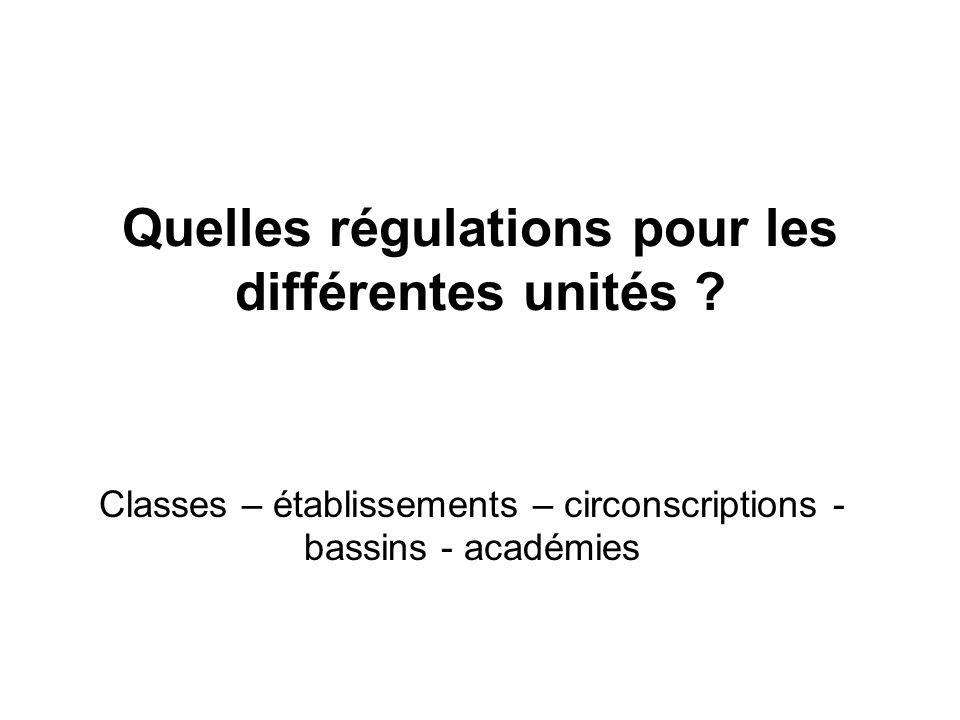 Quelles régulations pour les différentes unités ? Classes – établissements – circonscriptions - bassins - académies