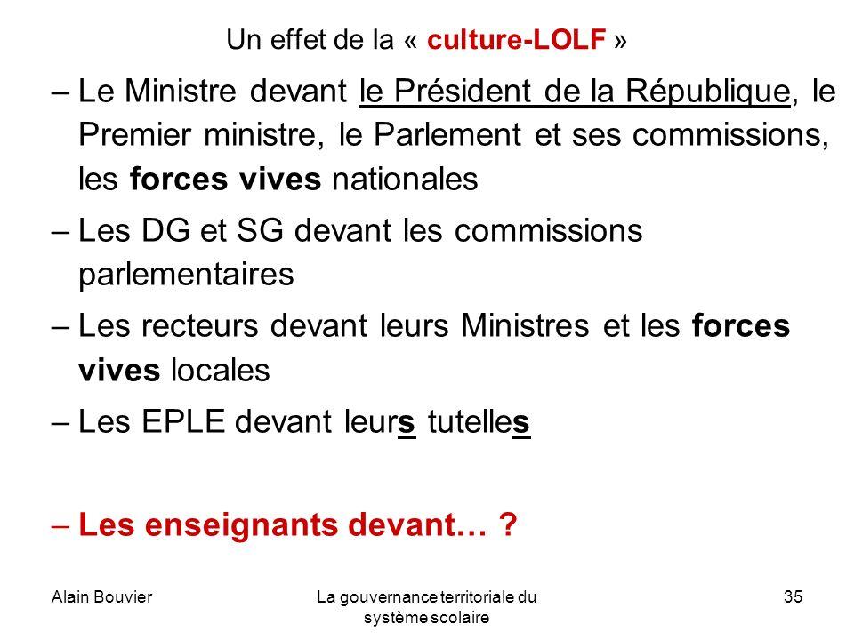 Alain BouvierLa gouvernance territoriale du système scolaire 35 Un effet de la « culture-LOLF » –Le Ministre devant le Président de la République, le
