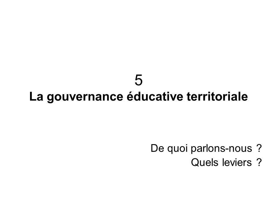 5 La gouvernance éducative territoriale De quoi parlons-nous ? Quels leviers ?
