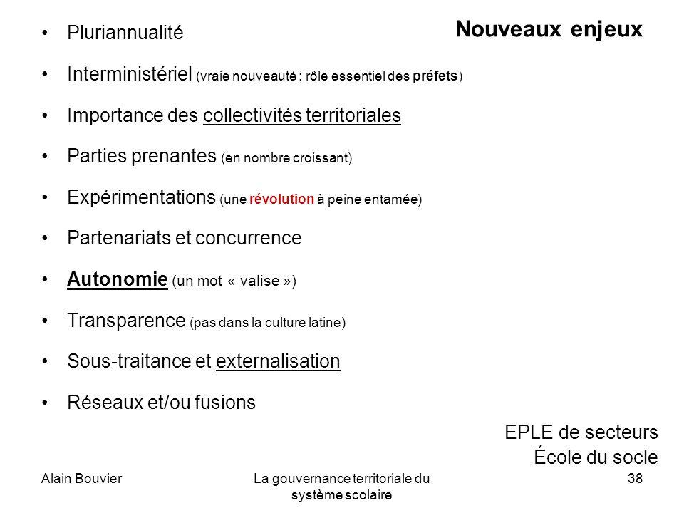 Alain BouvierLa gouvernance territoriale du système scolaire 38 Nouveaux enjeux Pluriannualité Interministériel (vraie nouveauté : rôle essentiel des