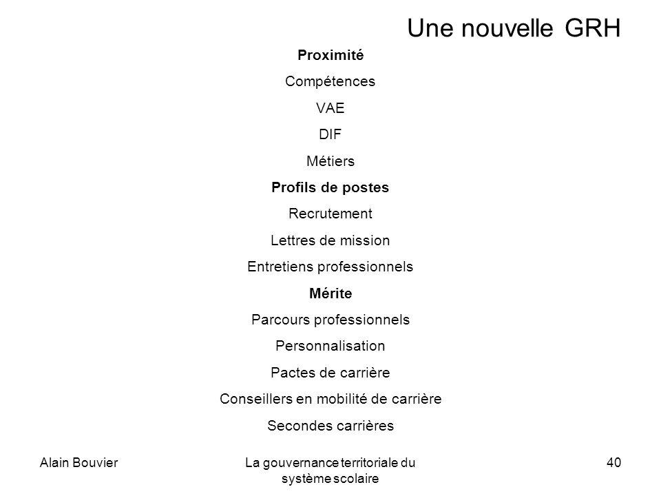 Alain BouvierLa gouvernance territoriale du système scolaire 40 Une nouvelle GRH Proximité Compétences VAE DIF Métiers Profils de postes Recrutement L