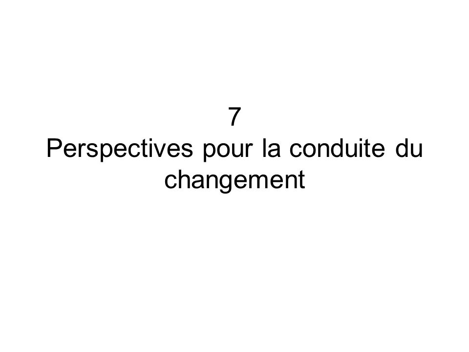 7 Perspectives pour la conduite du changement