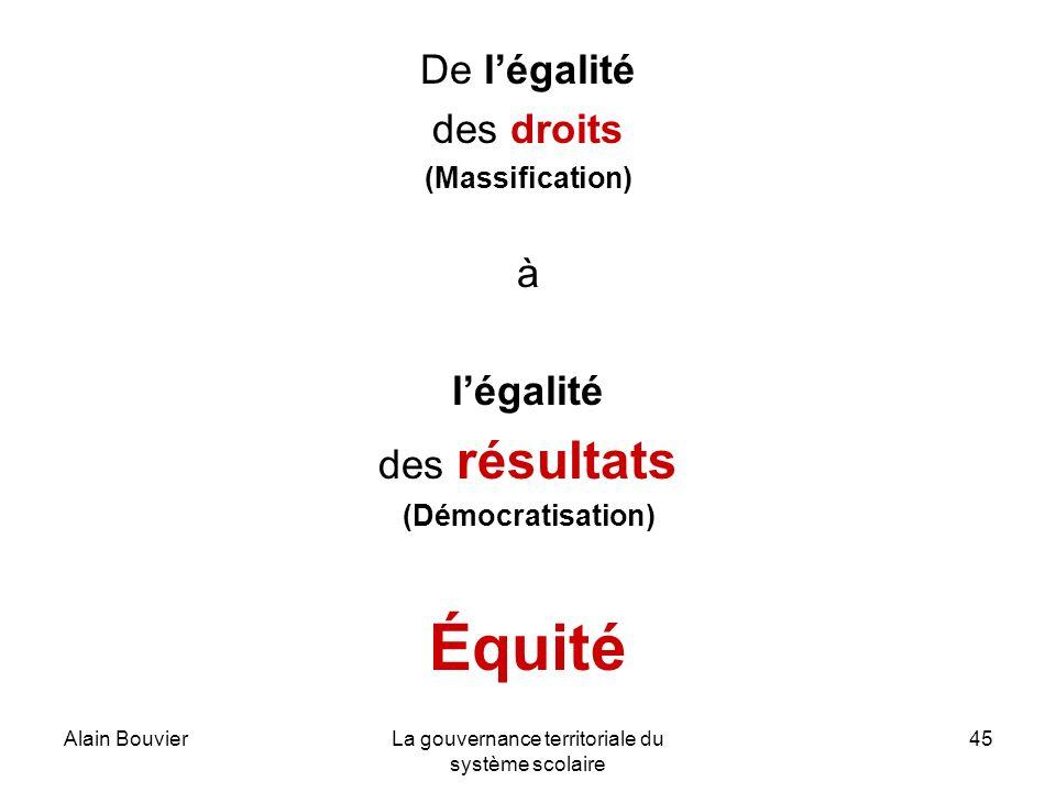 Alain BouvierLa gouvernance territoriale du système scolaire 45 De légalité des droits (Massification) à légalité des résultats (Démocratisation) Équité