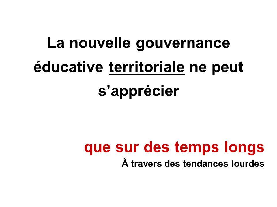 La nouvelle gouvernance éducative territoriale ne peut sapprécier que sur des temps longs À travers des tendances lourdes