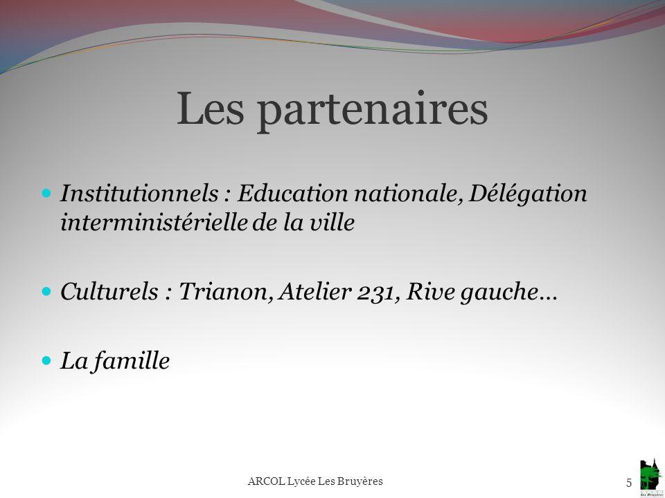 Les partenaires Institutionnels : Education nationale, Délégation interministérielle de la ville Culturels : Trianon, Atelier 231, Rive gauche… La fam