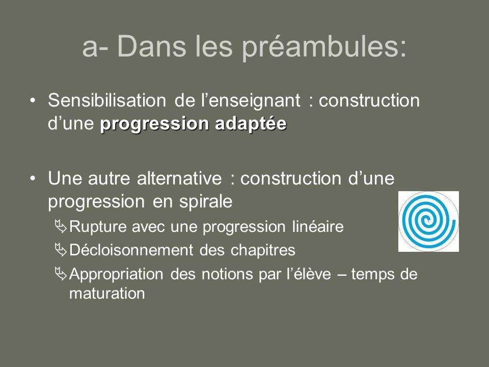 Les avantages dune progression spiralée Pour lélève: occasion de comprendre renouvelée Pour lenseignant: diminue le stress et la pression liée au temps (plus de souplesse – notion non abandonnée mais revue plus tard – révisions intégrées)