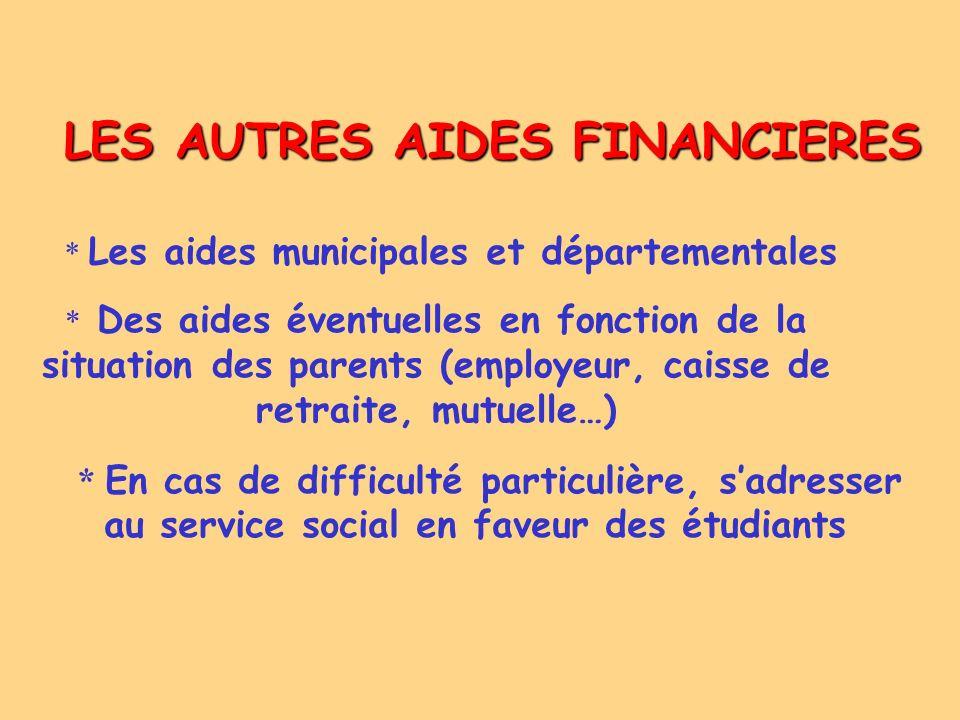 LES AUTRES AIDES FINANCIERES * Les aides municipales et départementales * Des aides éventuelles en fonction de la situation des parents (employeur, ca