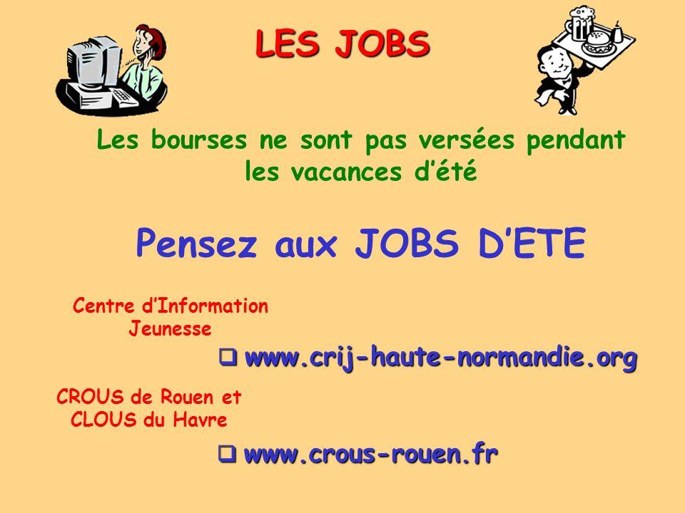 LES JOBS www.crij-haute-normandie.org www.crij-haute-normandie.org Les bourses ne sont pas versées pendant les vacances dété CROUS de Rouen et CLOUS d