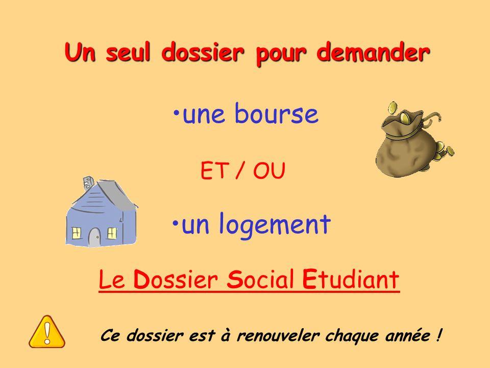 Un seul dossier pour demander une bourse ET / OU un logement Le Dossier Social Etudiant Ce dossier est à renouveler chaque année !