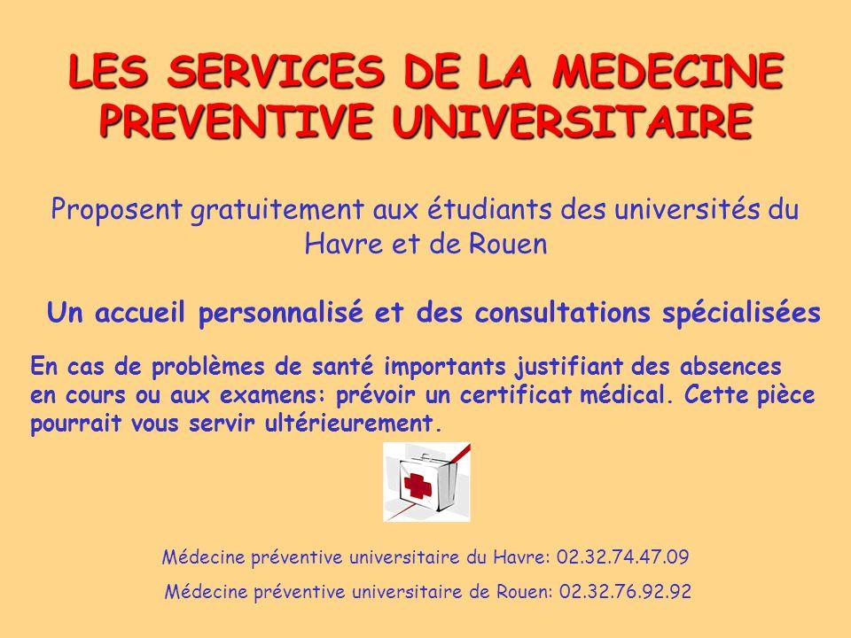 LES SERVICES DE LA MEDECINE PREVENTIVE UNIVERSITAIRE Proposent gratuitement aux étudiants des universités du Havre et de Rouen Un accueil personnalisé