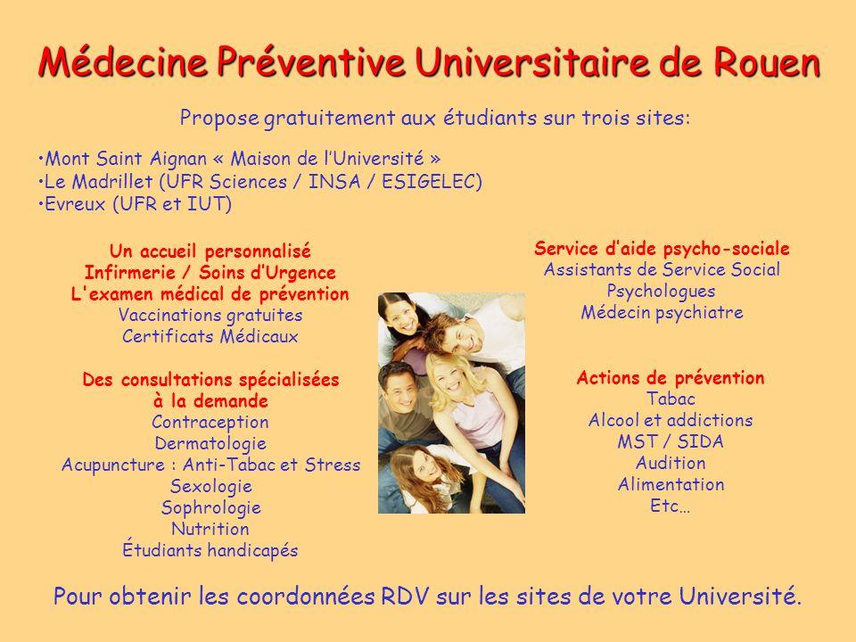 Médecine Préventive Universitaire de Rouen Mont Saint Aignan « Maison de lUniversité » Le Madrillet (UFR Sciences / INSA / ESIGELEC) Evreux (UFR et IU