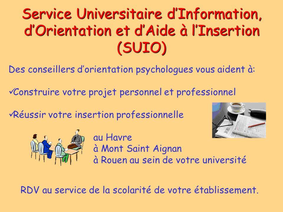 Service Universitaire dInformation, dOrientation et dAide à lInsertion (SUIO) Des conseillers dorientation psychologues vous aident à: Construire votr