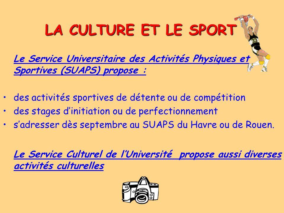 LA CULTURE ET LE SPORT Le Service Universitaire des Activités Physiques et Sportives (SUAPS) propose : des activités sportives de détente ou de compét