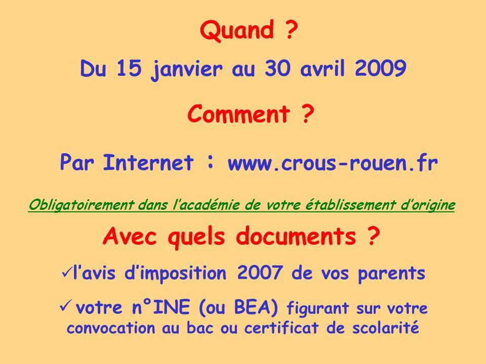 Comment ? Par Internet : www.crous-rouen.fr Quand ? Du 15 janvier au 30 avril 2009 Avec quels documents ? lavis dimposition 2007 de vos parents votre