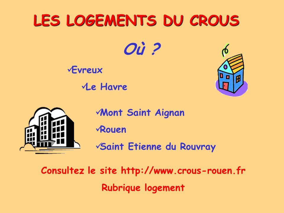 LES LOGEMENTS DU CROUS Où ? Evreux Le Havre Mont Saint Aignan Rouen Saint Etienne du Rouvray Consultez le site http://www.crous-rouen.fr Rubrique loge