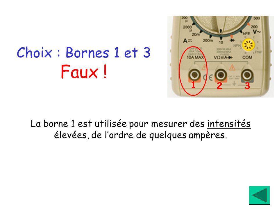 Choix : Bornes 1 et 3 Faux ! La borne 1 est utilisée pour mesurer des intensités élevées, de lordre de quelques ampères. 1 23