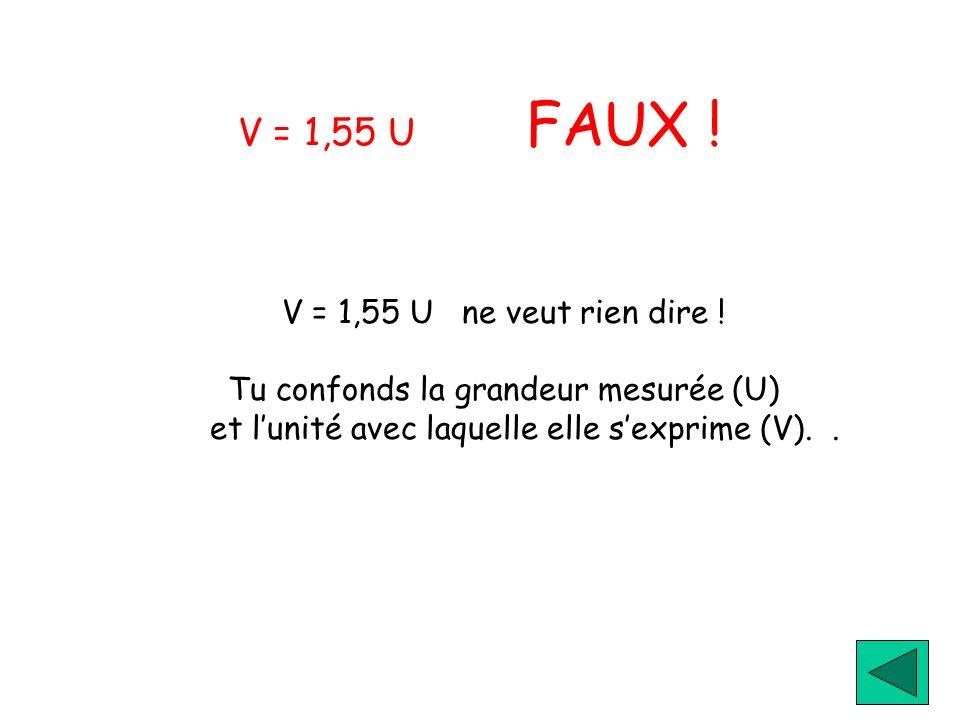 V = 1,55 U FAUX ! V = 1,55 U ne veut rien dire ! Tu confonds la grandeur mesurée (U) et lunité avec laquelle elle sexprime (V)..