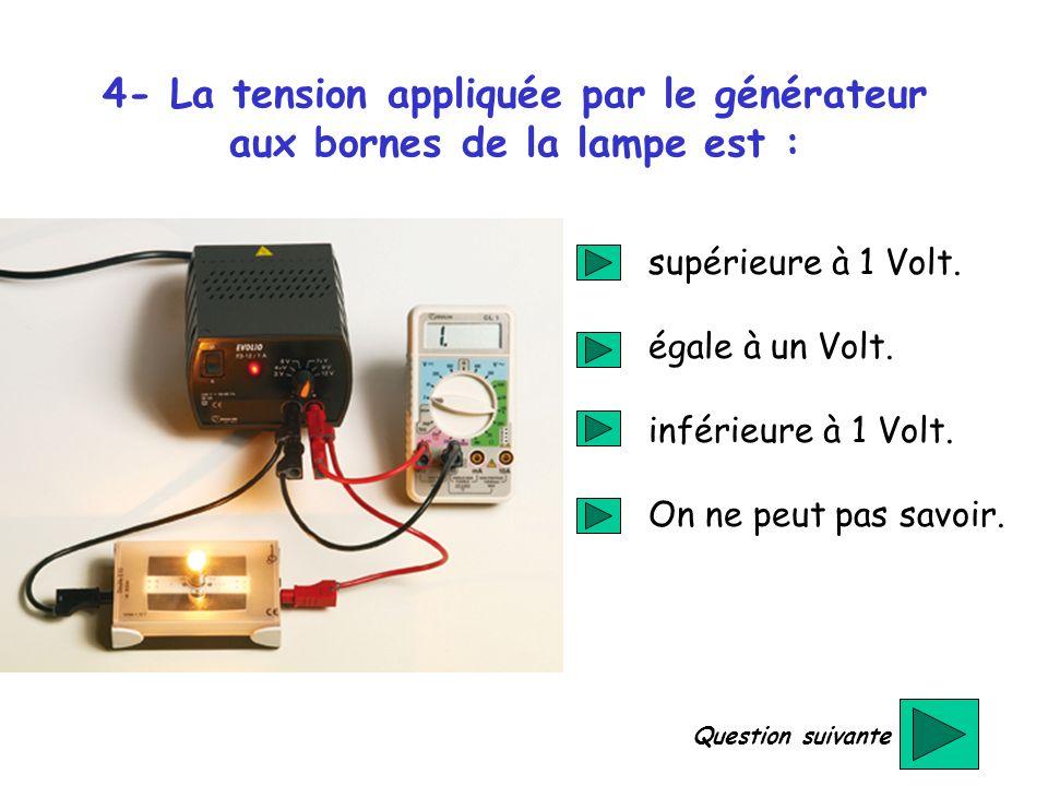 4- La tension appliquée par le générateur aux bornes de la lampe est : supérieure à 1 Volt. égale à un Volt. inférieure à 1 Volt. On ne peut pas savoi