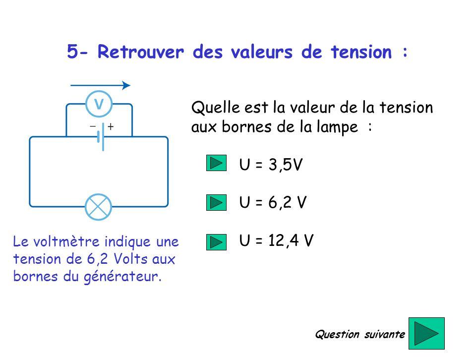 5- Retrouver des valeurs de tension : Le voltmètre indique une tension de 6,2 Volts aux bornes du générateur. Quelle est la valeur de la tension aux b