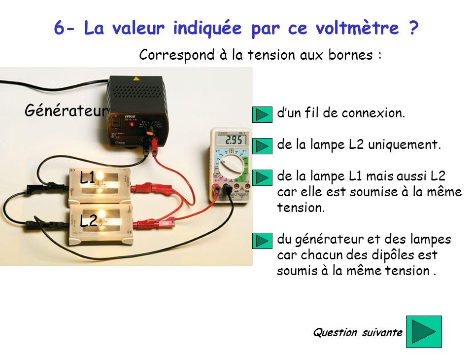 6- La valeur indiquée par ce voltmètre ? dun fil de connexion. de la lampe L2 uniquement. de la lampe L1 mais aussi L2 car elle est soumise à la même