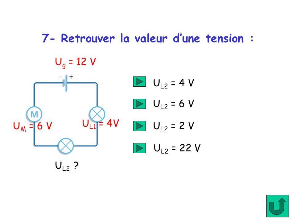 7- Retrouver la valeur dune tension : U g = 12 V U M = 6 V U L1 = 4V U L2 ? U L2 = 4 V U L2 = 6 V U L2 = 2 V U L2 = 22 V