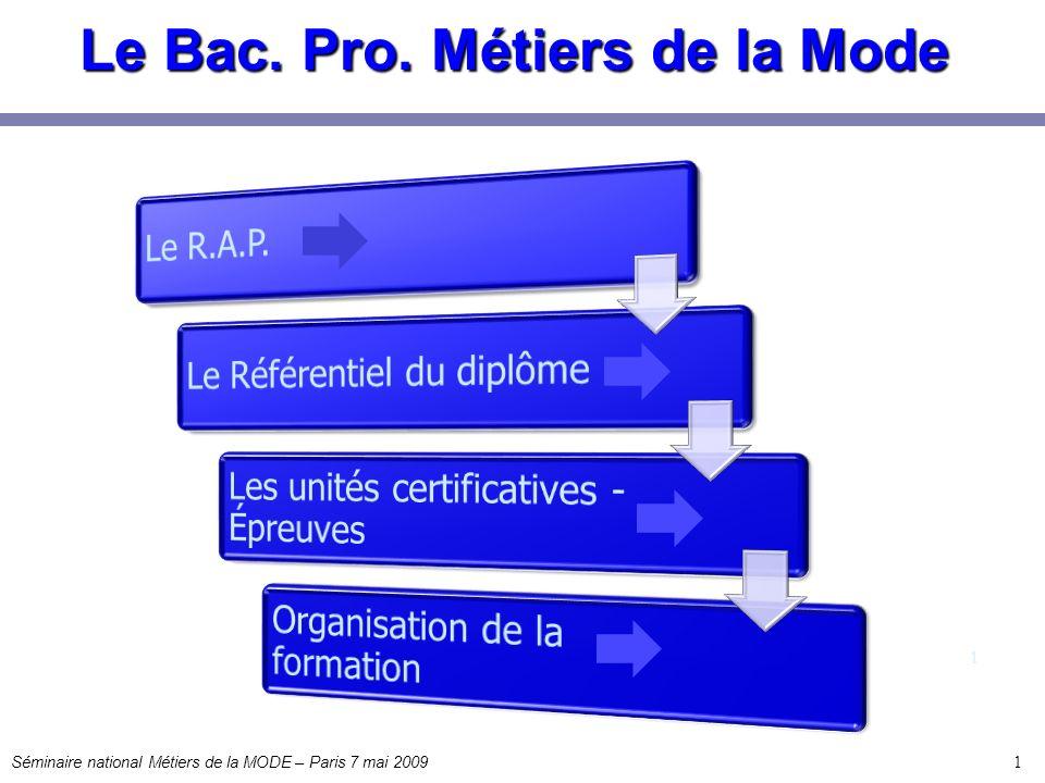 Le Bac. Pro. Métiers de la Mode 1 1 Séminaire national Métiers de la MODE – Paris 7 mai 2009