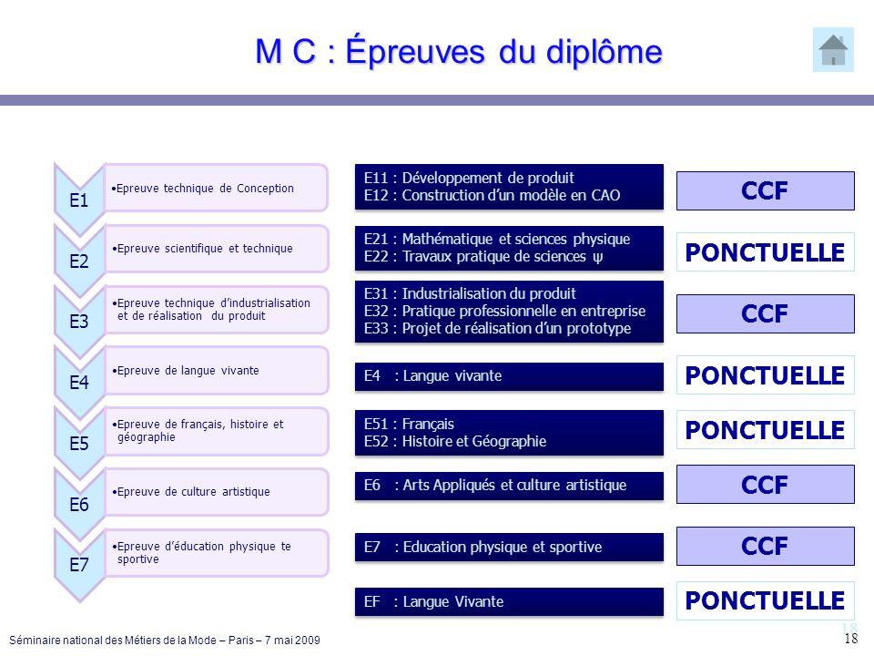 18 M C : Épreuves du diplôme E1 Epreuve technique de Conception E2 Epreuve scientifique et technique E3 Epreuve technique dindustrialisation et de réa