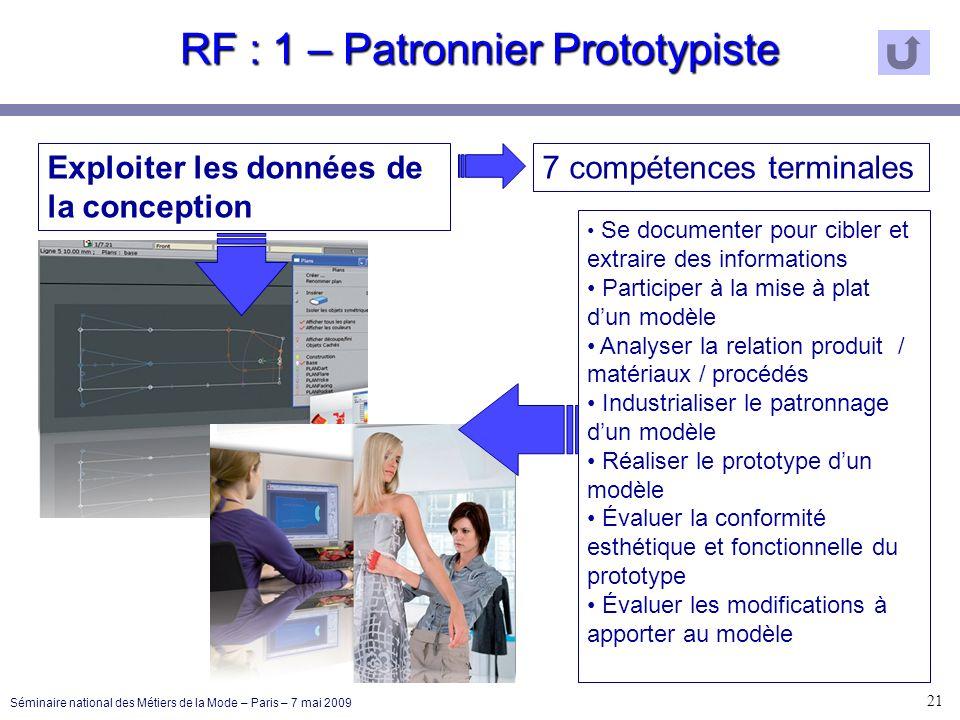 RF : 1 – Patronnier Prototypiste 21 Séminaire national des Métiers de la Mode – Paris – 7 mai 2009 Exploiter les données de la conception 7 compétence