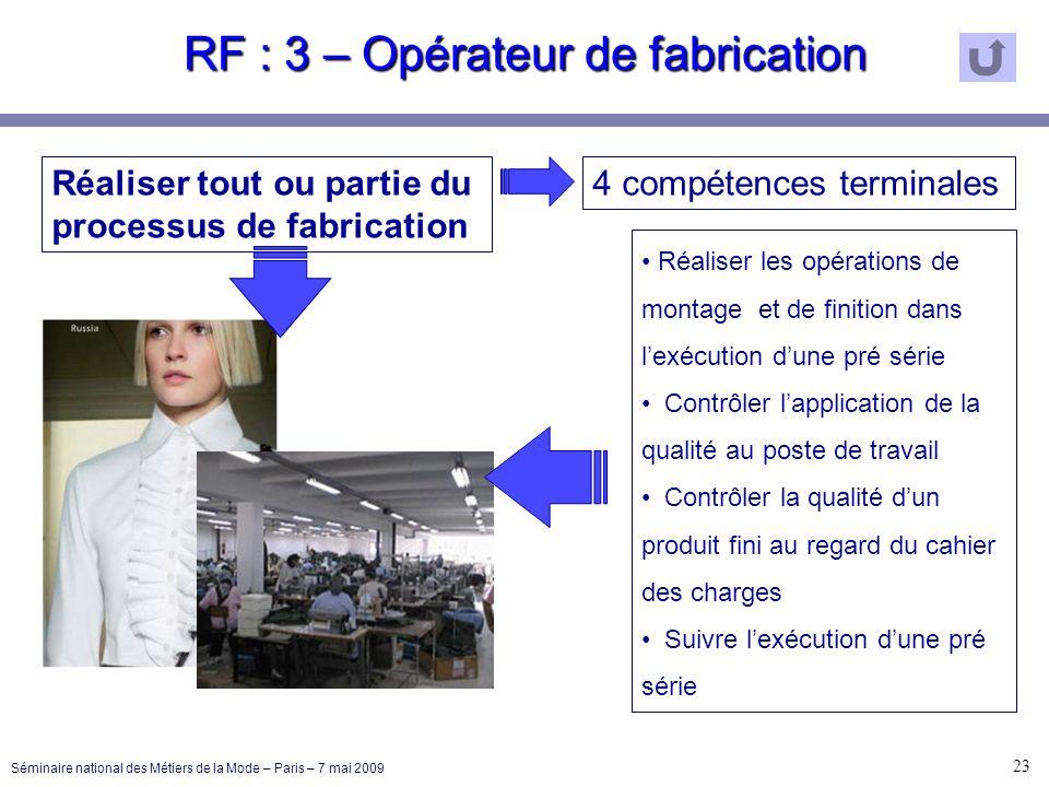 RF : 3 – Opérateur de fabrication 23 Séminaire national des Métiers de la Mode – Paris – 7 mai 2009 Réaliser tout ou partie du processus de fabricatio