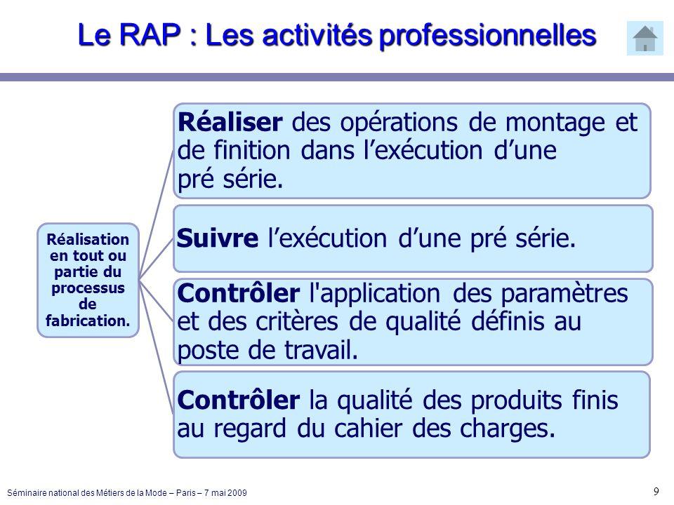 Le RAP : Les activités professionnelles 9 Séminaire national des Métiers de la Mode – Paris – 7 mai 2009 Réalisation en tout ou partie du processus de