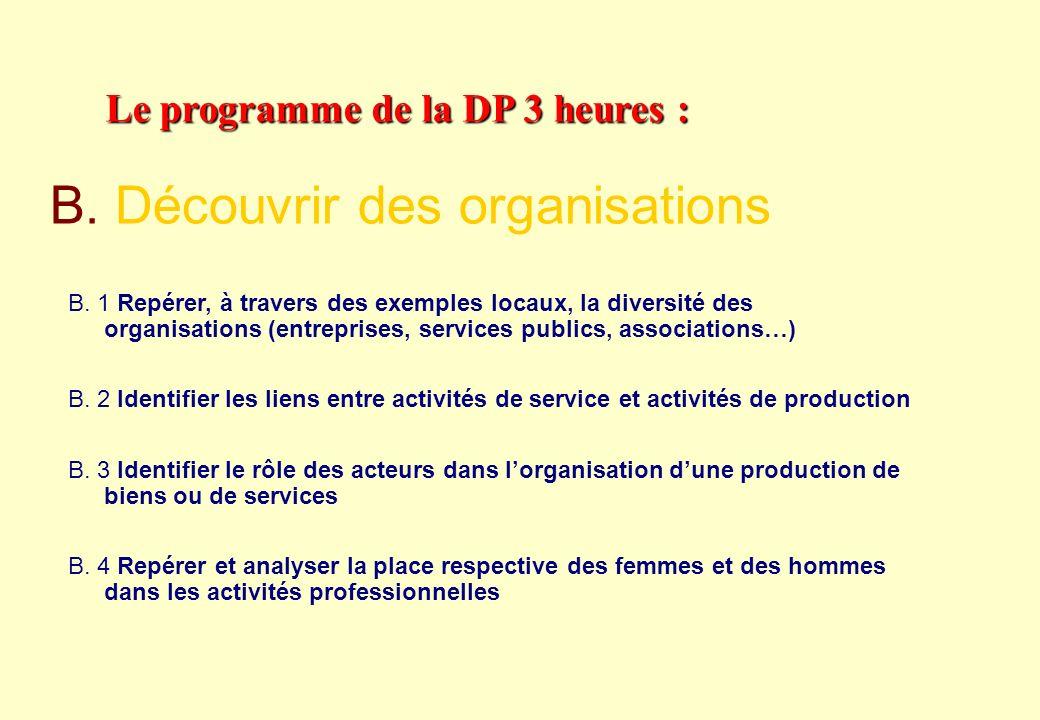 Le programme de la DP 3 heures : A.1 Présenter un métier en identifiant les principales tâches, lactivité du professionnel, les outils utilisés A.2 Di