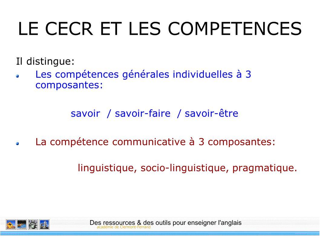 LE CECR ET LES COMPETENCES Il distingue: Les compétences générales individuelles à 3 composantes: savoir / savoir-faire / savoir-être La compétence co