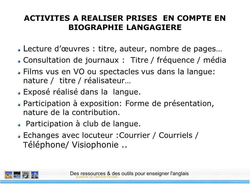 ACTIVITES A REALISER PRISES EN COMPTE EN BIOGRAPHIE LANGAGIERE L ecture dœuvres : titre, auteur, nombre de pages… Consultation de journaux : Titre / f