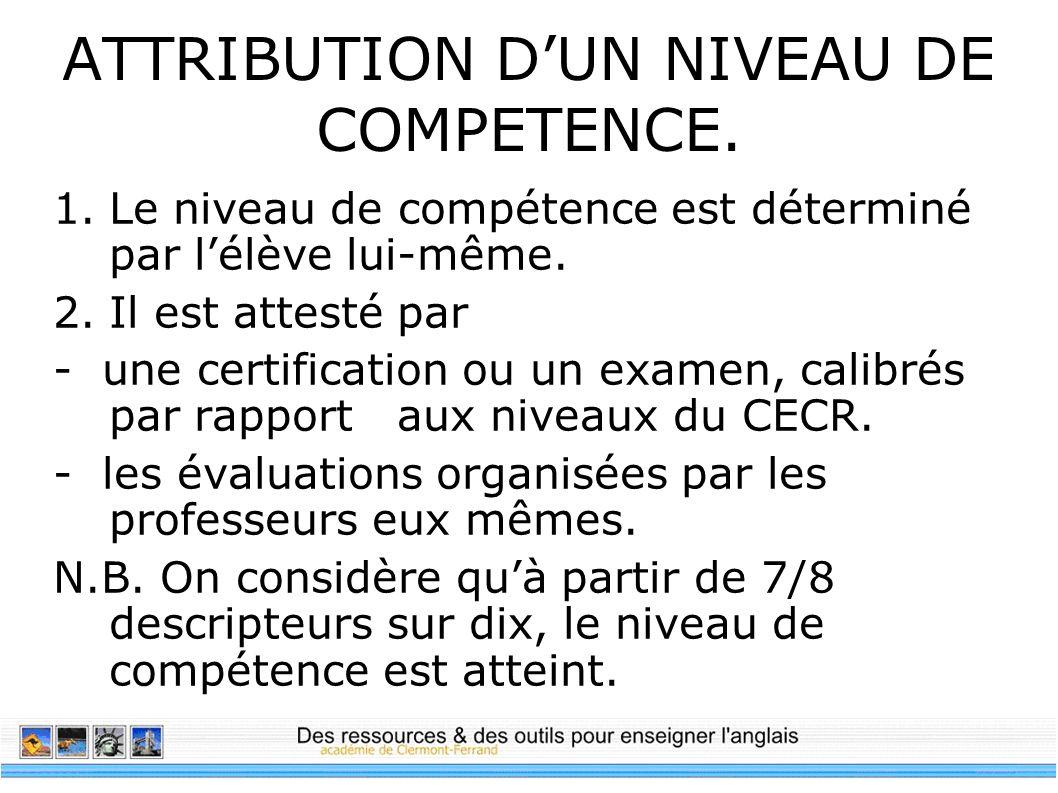 ATTRIBUTION DUN NIVEAU DE COMPETENCE. 1.Le niveau de compétence est déterminé par lélève lui-même. 2.Il est attesté par - une certification ou un exam