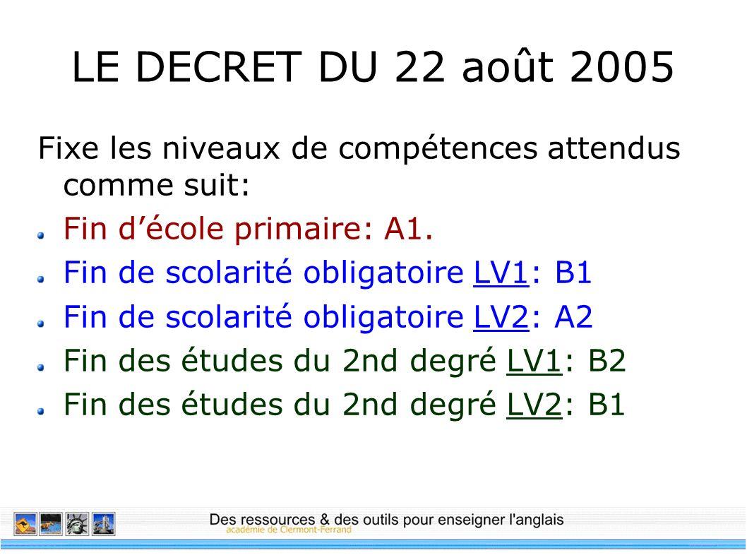 LE DECRET DU 22 août 2005 Fixe les niveaux de compétences attendus comme suit: Fin décole primaire: A1. Fin de scolarité obligatoire LV1: B1 Fin de sc