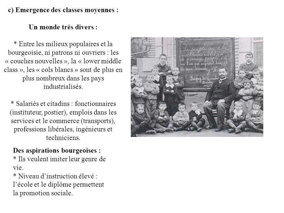 c) Emergence des classes moyennes : Un monde très divers : * Entre les milieux populaires et la bourgeoisie, ni patrons ni ouvriers : les « couches no