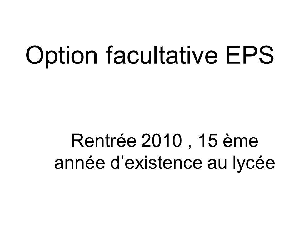 Option facultative EPS Rentrée 2010, 15 ème année dexistence au lycée