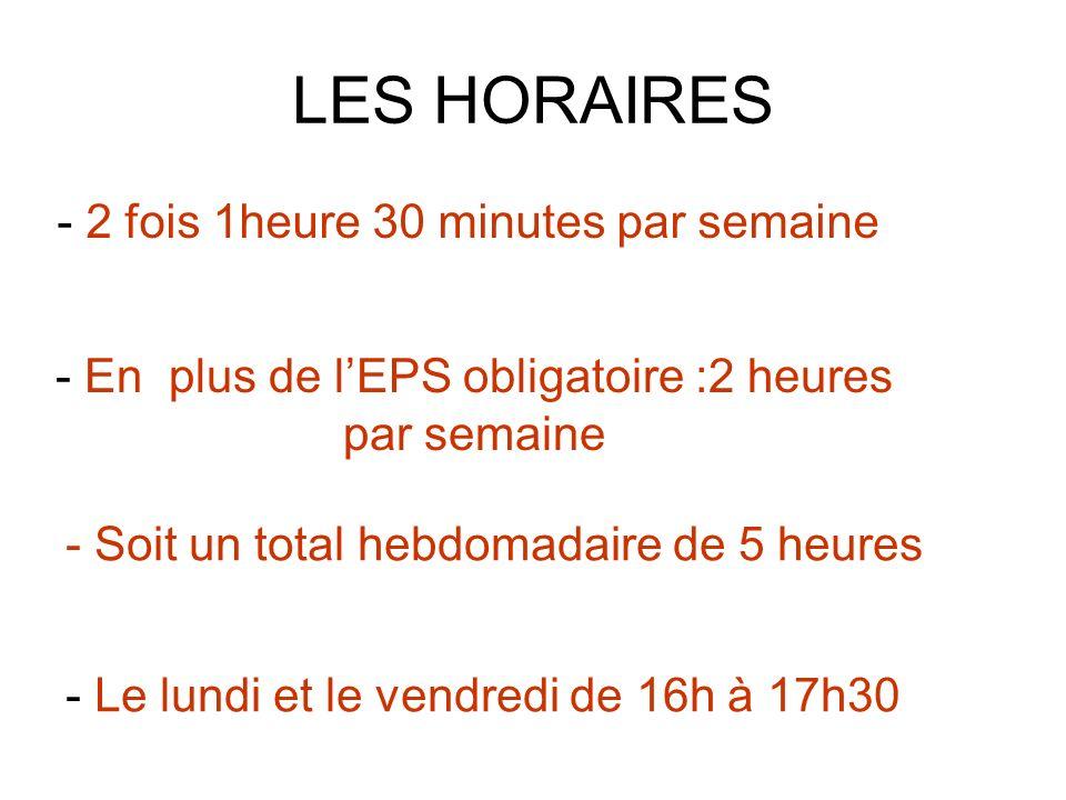 LES HORAIRES - 2 fois 1heure 30 minutes par semaine - En plus de lEPS obligatoire :2 heures par semaine - Le lundi et le vendredi de 16h à 17h30 - Soit un total hebdomadaire de 5 heures