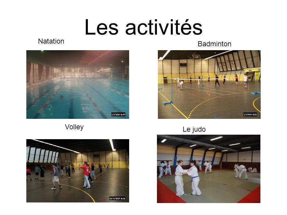 Les activités Natation Badminton Volley Le judo