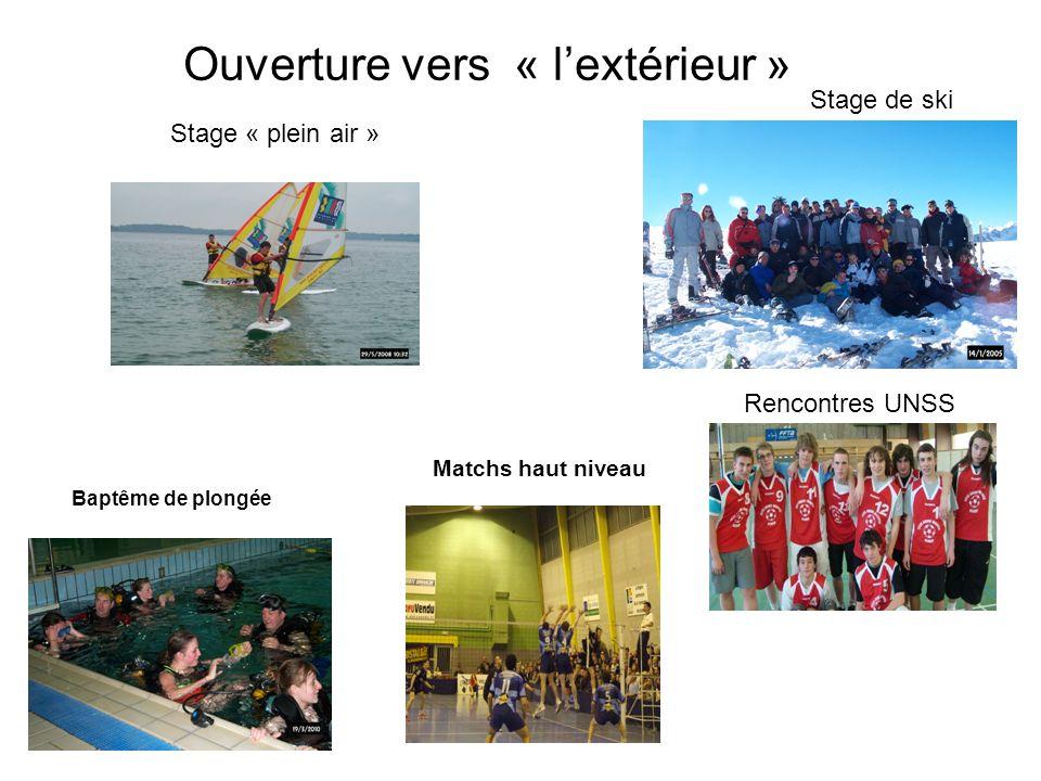 Ouverture vers « lextérieur » Stage « plein air » Stage de ski Baptême de plongée Rencontres UNSS Matchs haut niveau