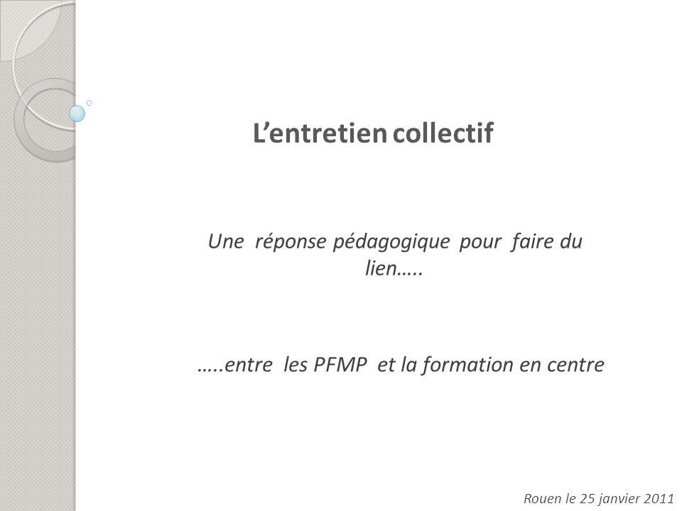 Une réponse pédagogique pour faire du lien….. Rouen le 25 janvier 2011 Lentretien collectif …..entre les PFMP et la formation en centre
