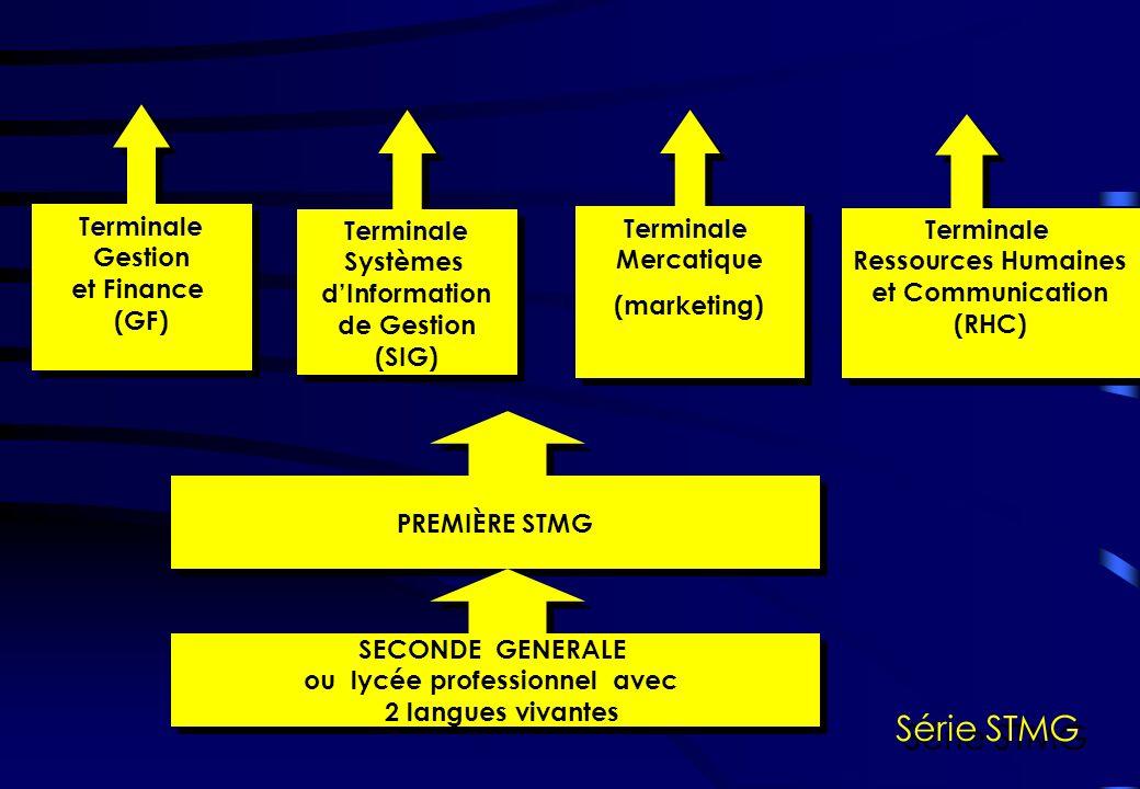 PREMIÈRE STMG Série STMG Terminale Systèmes dInformation de Gestion (SIG) Terminale Systèmes dInformation de Gestion (SIG) Terminale Gestion et Finance (GF) Terminale Gestion et Finance (GF) Terminale Mercatique (marketing) Terminale Mercatique (marketing) Terminale Ressources Humaines et Communication (RHC) Terminale Ressources Humaines et Communication (RHC) SECONDE GENERALE ou lycée professionnel avec 2 langues vivantes SECONDE GENERALE ou lycée professionnel avec 2 langues vivantes