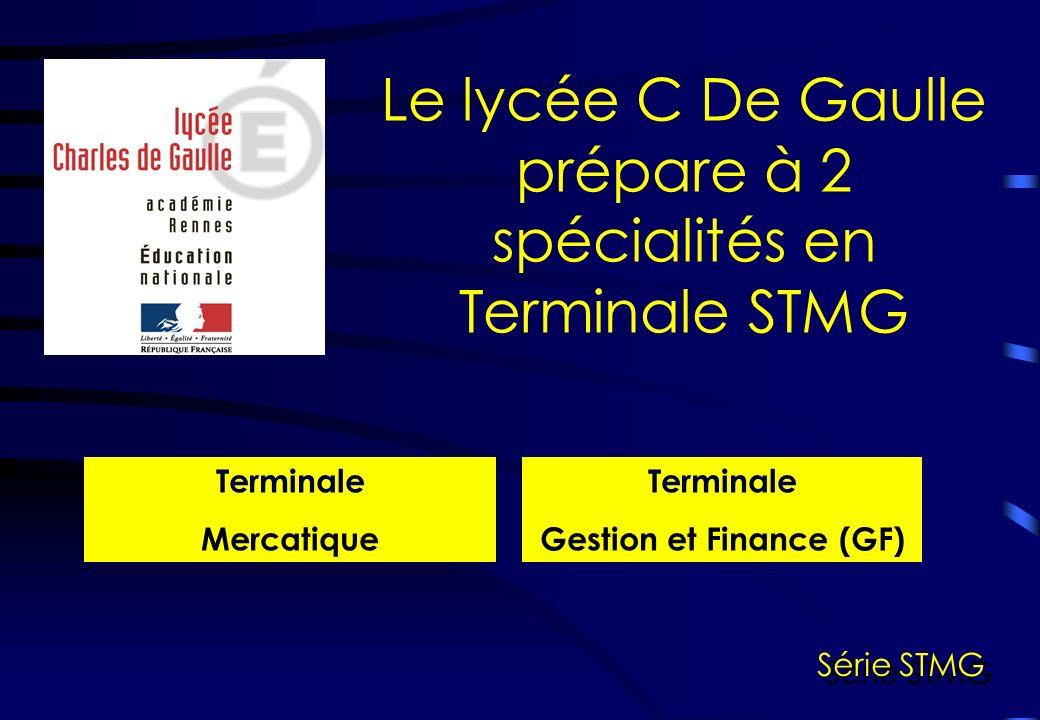 Le lycée C De Gaulle prépare à 2 spécialités en Terminale STMG Terminale Mercatique Terminale Gestion et Finance (GF) Série STMG