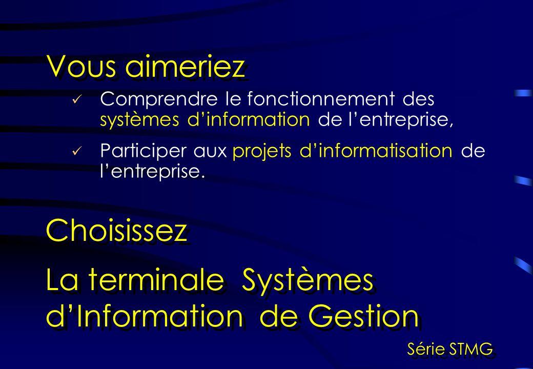 Comprendre le fonctionnement des systèmes dinformation de lentreprise, Vous aimeriez Choisissez La terminale Systèmes dInformation de Gestion Série STMG Participer aux projets dinformatisation de lentreprise.