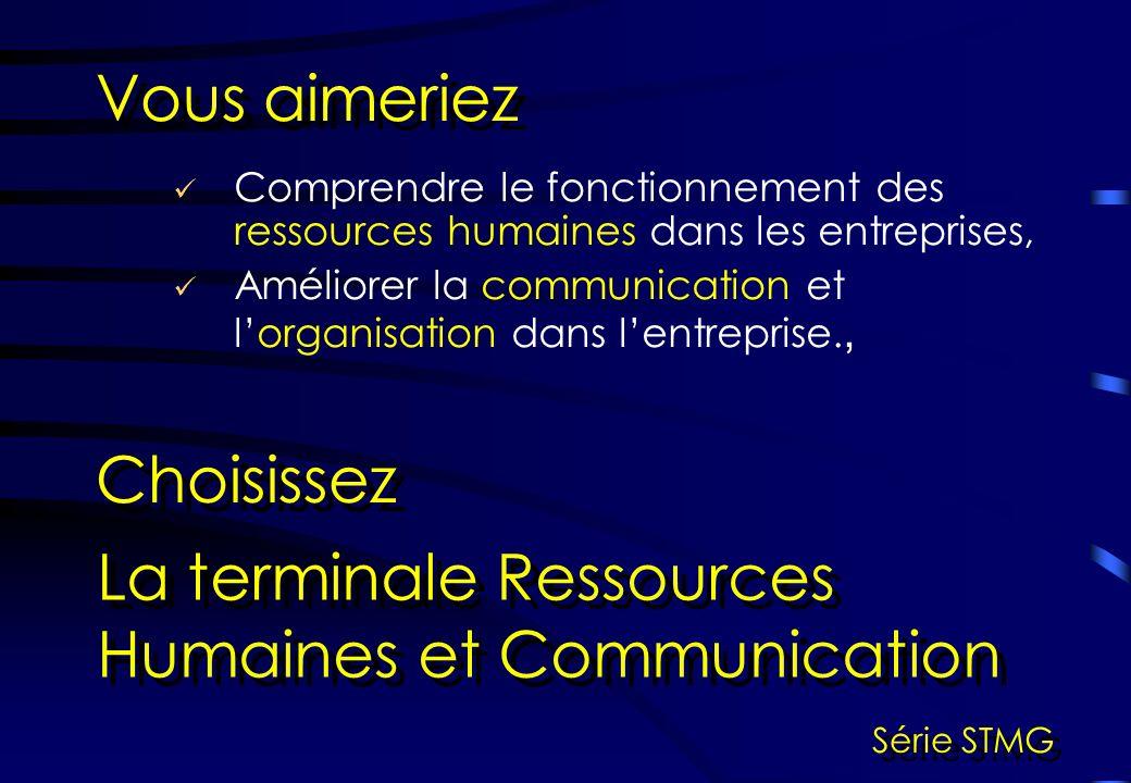 Comprendre le fonctionnement des ressources humaines dans les entreprises, Améliorer la communication et lorganisation dans lentreprise., Vous aimeriez Choisissez La terminale Ressources Humaines et Communication Série STMG