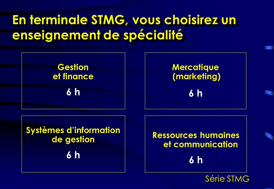 Ressources humaines et communication 6 h En terminale STMG, vous choisirez un enseignement de spécialité Mercatique (marketing) 6 h Systèmes dinformation de gestion 6 h Gestion et finance 6 h Série STMG