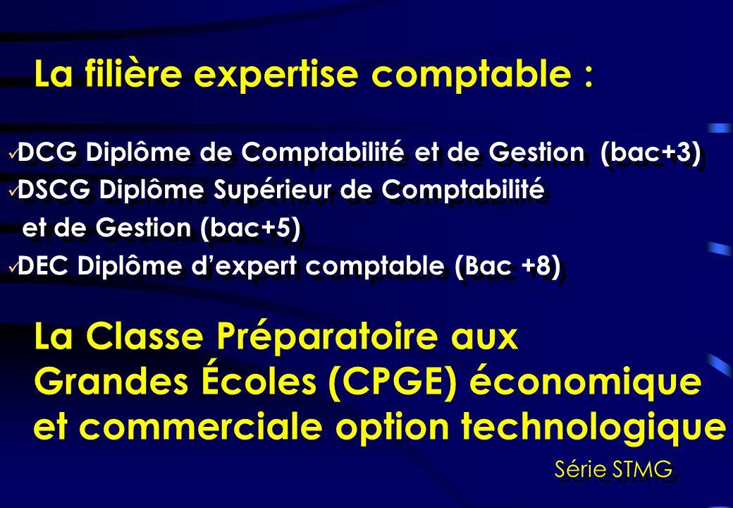 Série STMG La filière expertise comptable : DCG Diplôme de Comptabilité et de Gestion (bac+3) DSCG Diplôme Supérieur de Comptabilité et de Gestion (bac+5) DEC Diplôme dexpert comptable (Bac +8) DCG Diplôme de Comptabilité et de Gestion (bac+3) DSCG Diplôme Supérieur de Comptabilité et de Gestion (bac+5) DEC Diplôme dexpert comptable (Bac +8) La Classe Préparatoire aux Grandes Écoles (CPGE) économique et commerciale option technologique