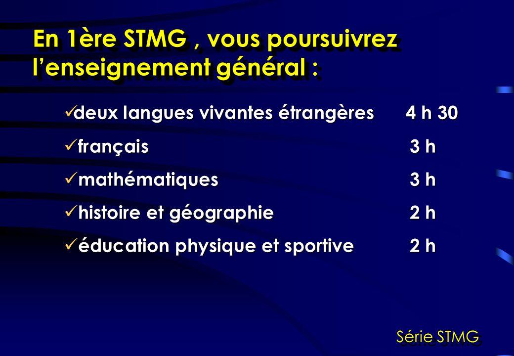 En 1ère STMG, vous étudierez de nouvelles matières : management des organisations2 h 30 management des organisations2 h 30 économie et droit 4 h économie et droit 4 h sciences de gestion 6 h sciences de gestion 6 h Série STMG
