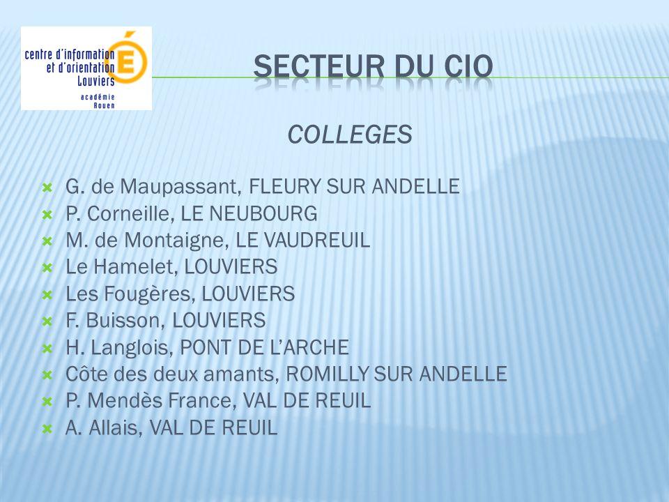 COLLEGES G. de Maupassant, FLEURY SUR ANDELLE P. Corneille, LE NEUBOURG M. de Montaigne, LE VAUDREUIL Le Hamelet, LOUVIERS Les Fougères, LOUVIERS F. B