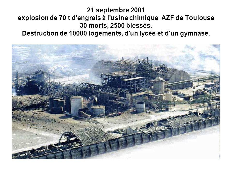 21 septembre 2001 explosion de 70 t d'engrais à l'usine chimique AZF de Toulouse 30 morts, 2500 blessés. Destruction de 10000 logements, d'un lycée et